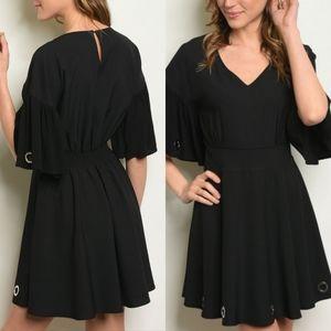 💥 CLEARANCE Black Metal Hoop Dress w/Sleeve